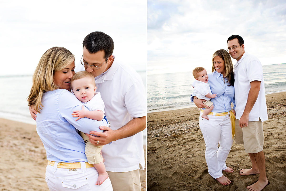 family beach photo session with baby