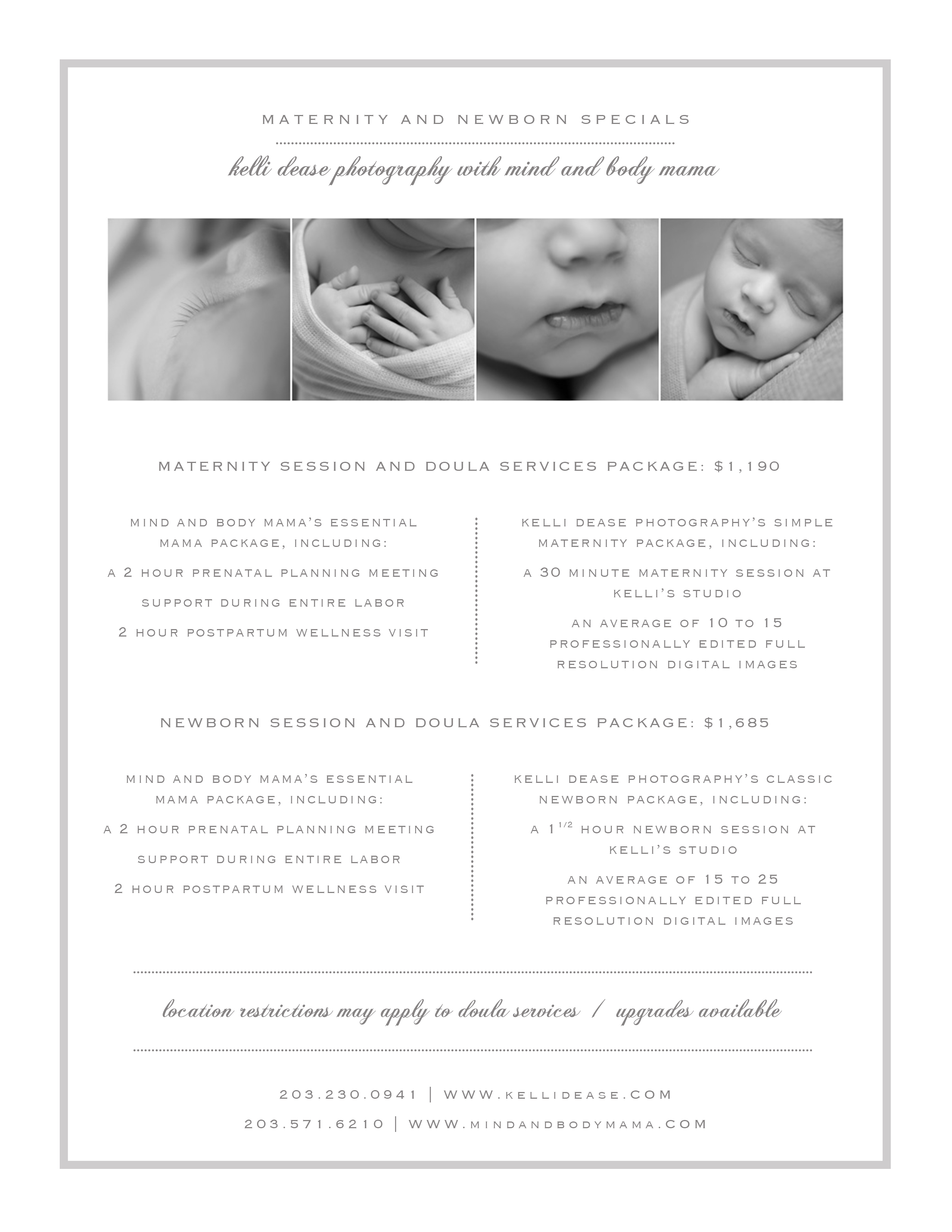 Maternity and newborn photography and doula services special package.