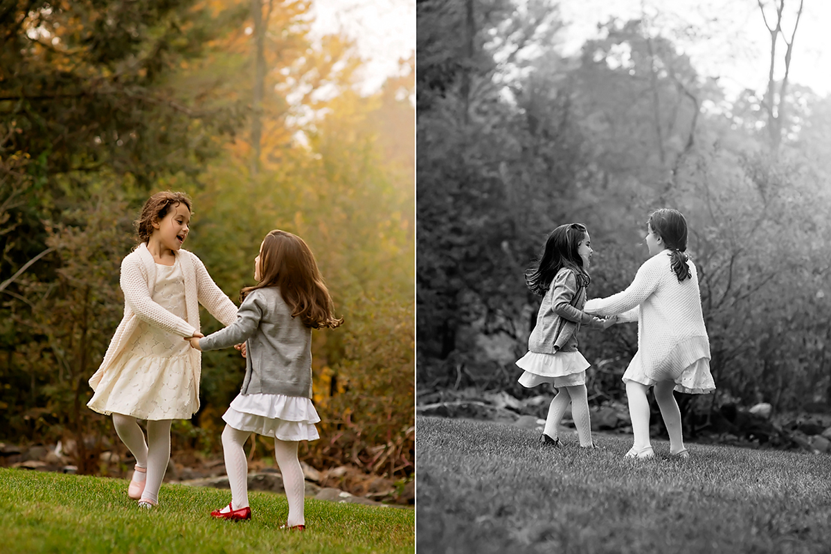 CANDID SISTERS PLAYING OUTSIDE. GREENWICH FAMILY PHOTOGRAPHER KELLI DEASE.
